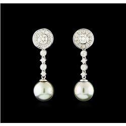 1.18 ctw Diamond Earrings - 14KT White Gold
