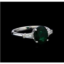 1.91 ctw Emerald and Diamond Ring - 14KT White Gold