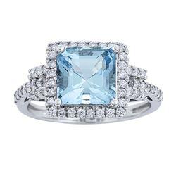 2.15 ctw Aquamarine and Diamond Ring - 14KT White Gold
