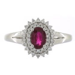 0.64 ctw Ruby and Diamond Ring - 14KT White Gold