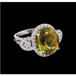 GIA Cert 10.91 ctw Alexandrite and Diamond Ring - 18KT White Gold