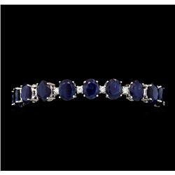 42.73 ctw Sapphire and Diamond Bracelet - 14KT White Gold