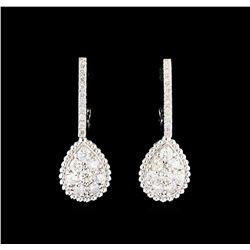 0.96 ctw Diamond Earrings - 14KT White Gold
