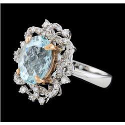 3.88 ctw Aquamarine and Diamond Ring - 14KT Rose and White Gold