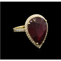 15.99 ctw Ruby and Diamond Ring - 14KT Yellow Gold