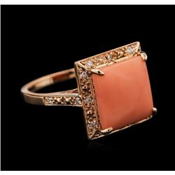 5.36 ctw Pink Coral and Diamond Ring - 14KT Rose Gold