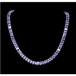 54.00 ctw Tanzanite and Diamond Necklace - 14KT White Gold