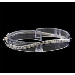 1.05 ctw Diamond Bangle Bracelet - 14KT White Gold