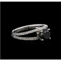 1.71 ctw Black Diamond Ring - 18KT White Gold