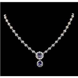 14KT White Gold 5.50 ctw Tanzanite and Diamond Necklace