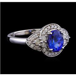 1.40 ctw Tanzanite and Diamond Ring - 14KT White Gold
