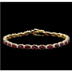 11.35 ctw Ruby and Diamond Bracelet - 14KT Yellow Gold