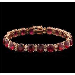 30.24 ctw Ruby and Diamond Bracelet - 14KT Rose Gold