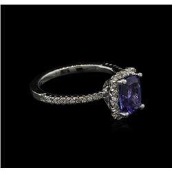 1.60 ctw Tanzanite and Diamond Ring - 14KT White Gold