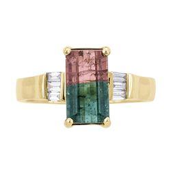 2.27 ctw Bi-Color Tourmaline and Diamond Ring - 14KT Yellow Gold
