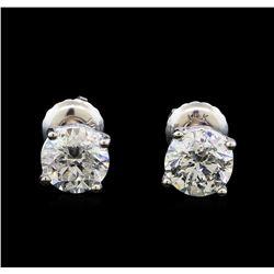 1.55 ctw Diamond Stud Earrings - 14KT White Gold
