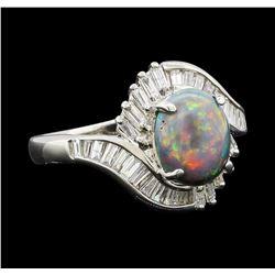 1.80 ctw Black Opal and Diamond Ring - Platinum