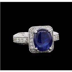 GIA Cert 6.48 ctw Sapphire and Diamond Ring - 14KT White Gold