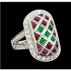 Ruby, Emerald and Diamond Ring - Platinum