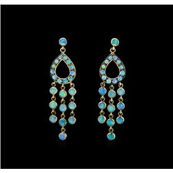 3.80 ctw Opal Earrings - 18KT Yellow Gold