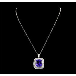 GIA Cert 21.07 ctw Tanzanite and Diamond Pendant With Chain - 14KT White Gold