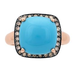 4.89 ctw Turquoise and Diamond Ring - 14KT Rose Gold