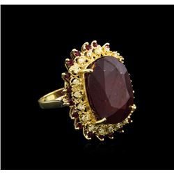 32.79 ctw Ruby and Diamond Ring - 14KT Yellow Gold