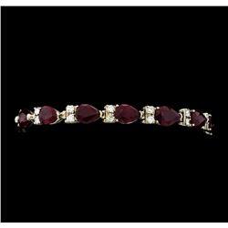 21.24 ctw Ruby and Diamond Bracelet - 14KT White Gold