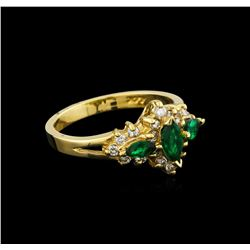 0.48 ctw Emerald and Diamond Ring - 14KT Yellow Gold