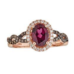 1.47 ctw Rhodolite and Diamond Ring - 10K Rose Gold