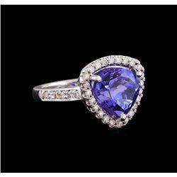 5.48 ctw Tanzanite and Diamond Ring - 14KT White Gold