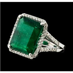 7.70 ctw Emerald and Diamond Ring - 14KT White Gold