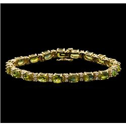 14KT Yellow Gold 16.91 ctw Green Sapphire and Diamond Bracelet