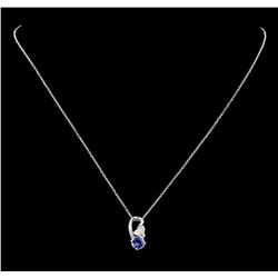 0.76 ctw Tanzanite and Diamond Pendant With Chain - 18KT White Gold