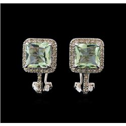 4.40 ctw Green Amethyst and Diamond Earrings - 14KT White Gold