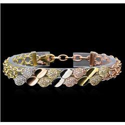 1.35 ctw Diamond Bracelet - 14KT Tri-Tone Gold