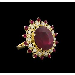 14.37 ctw Ruby and Diamond Ring - 14KT Yellow Gold