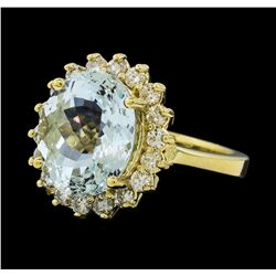 4.73 ctw Aquamarine and Diamond Ring - 14KT Yellow Gold