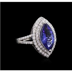 3.64 ctw Tanzanite and Diamond Ring - 14KT White Gold