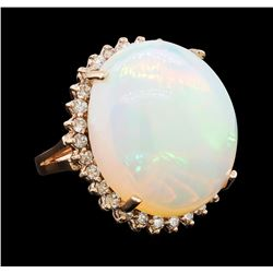 23.03 ctw Opal and Diamond Ring - 14KT Rose Gold