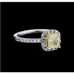 1.37 ctw Fancy Light Yellow Diamond Ring - 14KT Two-Tone Gold