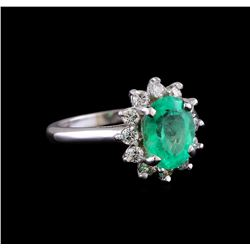2.30 ctw Emerald and Diamond Ring - 14KT White Gold