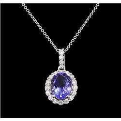3.62 ctw Tanzanite and Diamond Pendant With Chain - 14KT White Gold
