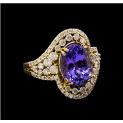 14KT Yellow Gold 4.73 ctw Tanzanite and Diamond Ring