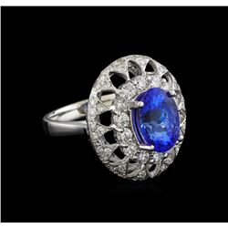 14KT White Gold 3.03 ctw Tanzanite and Diamond Ring