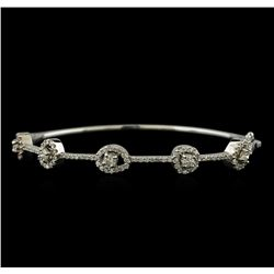 1.68 ctw Diamond Bangle Bracelet - 14KT White Gold