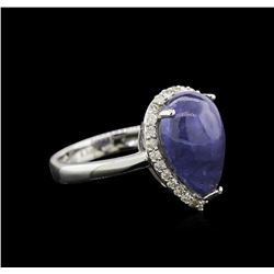 6.32 ctw Tanzanite and Diamond Ring - 14KT White Gold