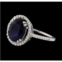 3.30 ctw Sapphire and Diamond Ring - 18KT White Gold