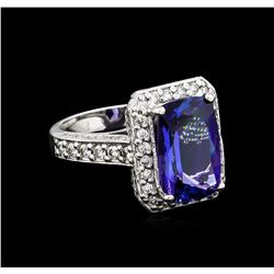 4.95 ctw Tanzanite and Diamond Ring - 14KT White Gold