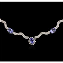 14KT White Gold 18.33 ctw Tanzanite and Diamond Necklace